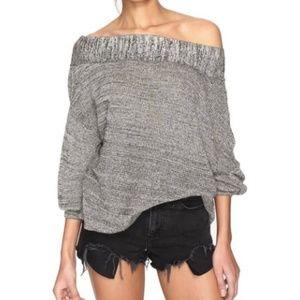 Free People - Grey Alana Off-Shoulder Sweater